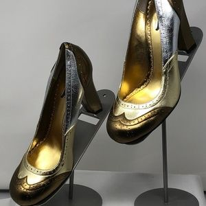 Hale Bob High Heels, Metallic Gold/Bronze/Silver 7
